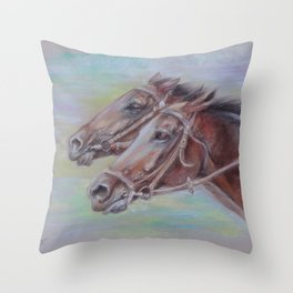 Horse Racing, Portrait of two brown horses, Pastel drawing on gray background Throw Pillow