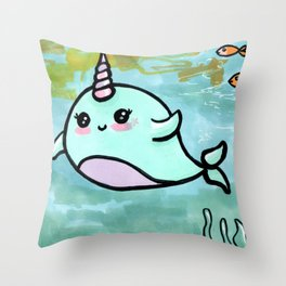 Cute narwhal Throw Pillow