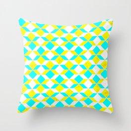 Turquoise & Yellow Diamonds Inverted Throw Pillow