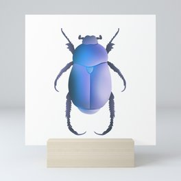 Blue Egyptian Scarab Beetle Mini Art Print
