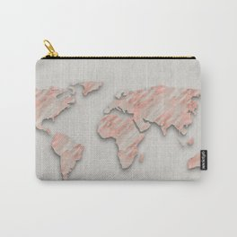 Rose Gold Marble World Map on paper Carry-All Pouch
