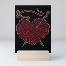 I Love Knitting | Wool Needle Heart Sewing Craft Mini Art Print