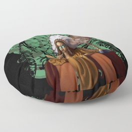 Female Shaman with Headdress | Dream Catcher Floor Pillow