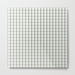 Desert Sage Grey Green and White Gingham Check Metal Print