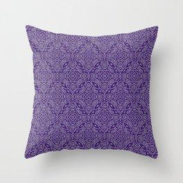 Purple and White Bandhani Bandhej Indian Textiles Throw Pillow