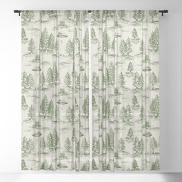 Green Alien Abduction Toile De Jouy Pattern Sheer Curtain