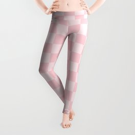 Large Light Millennial Pink Pastel Color Checkerboard Leggings