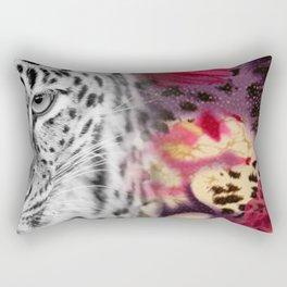 Black & White Leopard & Floral Collage Rectangular Pillow