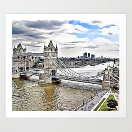 London Bridge Landscape Airbrush Artwork Art Print