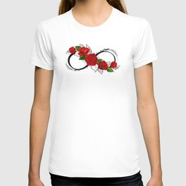 Infinity Symbol with Red Roses T-shirt