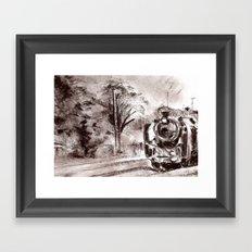 Steam train sepia II Framed Art Print