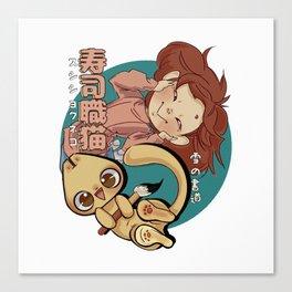 Sushi Chef Neko - Snow Shodou - Junpei and Anzu Design 1 Canvas Print
