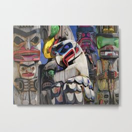 Totem Poles in the Pacific Northwest Metal Print