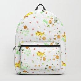 Whimsical Honeybees on White | Hives Honeycomb Clover Flowers Backpack