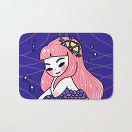 Purple Mermaid Holding Bracelet Bath Mat