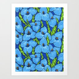 Blue Puya Flowers Botanical Floral Pattern Art Print