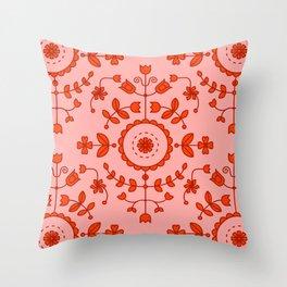 Boho Floral - Orange Throw Pillow