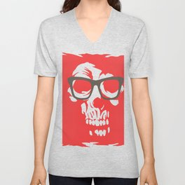 limited edition:amazing skull with glasses red background Unisex V-Neck
