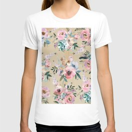 Pastel pink teal green watercolor pine wood floral T-shirt