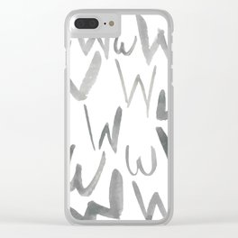 Watercolor W's - Grey Gray Clear iPhone Case