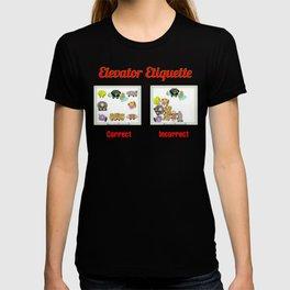 ELEVATOR ETIQUETTE     A message in the Public Interest T-shirt