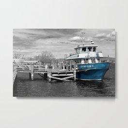 Blue Boat Color Pop  Metal Print
