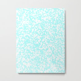 Small Spots - White and Celeste Cyan Metal Print