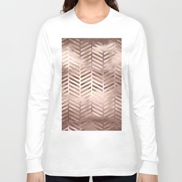Champagne Rosegold Abstract Pattern Long Sleeve T-shirt