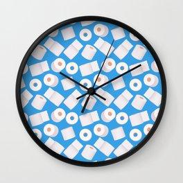 Toilet paper rolls on blue (pattern) Wall Clock
