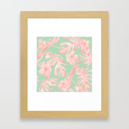 Tropical Palm Leaves Hibiscus Pink Mint Green Framed Art Print
