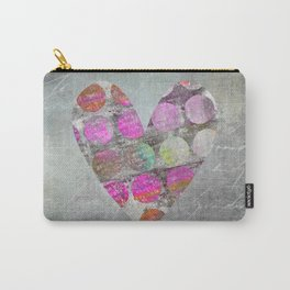 Passion Grey Mixed Media Heart Art Carry-All Pouch