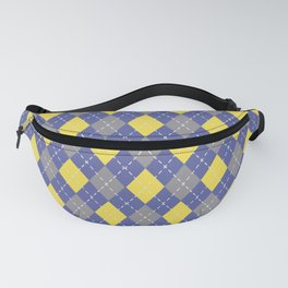 Gray Yellow and Blue Argyle Pattern V9 Pantone 2021 Colors of the Year & Accent Shades Fanny Pack