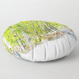Aquarelle sketch art. Woods in Amiata Mountain in spring season, Tuscany, Italy Floor Pillow