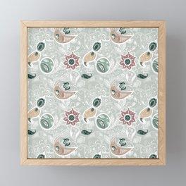 Paisely Flower Pattern Green Gray Framed Mini Art Print