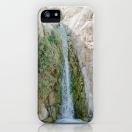 Desert Waterfall at Ein Gedi - Holy Land Fine Art Film Photography iPhone Case