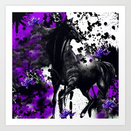 HORSE BLACK AND PURPLE THUNDER INK SPLASH Art Print