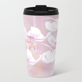 White lilies on pink background #decor #society6 Travel Mug