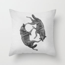 Two Wolves : Cherokee Tale Throw Pillow