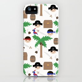 Seamless pirate colorful kids retro background pattern iPhone Case
