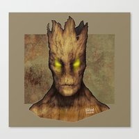 groot Canvas Prints featuring Groot by erintquinn
