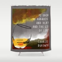 whisky Shower Curtains featuring CHEERS by Fabiana Araujo Arte