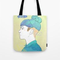 grimes Tote Bags featuring Grimes by ObsidianInk