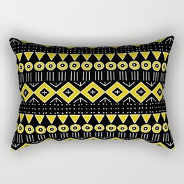 Mudcloth Style 2 in Black and Yellow Rectangular Pillow
