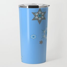 BABY BLUE COLOR & SNOWFLAKES DESIGN ART Travel Mug