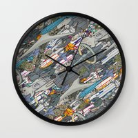 battlestar galactica Wall Clocks featuring Battlestar by Guy Warley