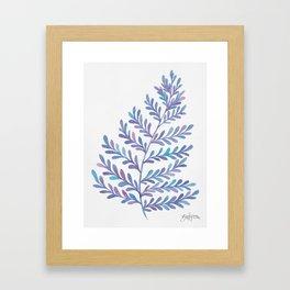 Fern Leaf - Blue Palette Framed Art Print