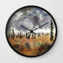Fall Near Cantwell Alaska, an original watercolor painting Wall Clock