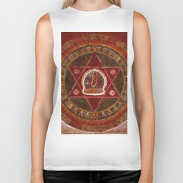 Vajrayogini stands in the center of two crossed red triangles Biker Tank