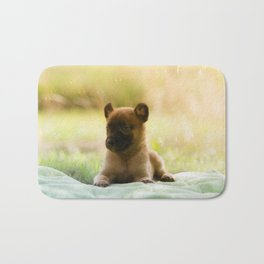 Malinois puppies in the soap blowing game Bath Mat