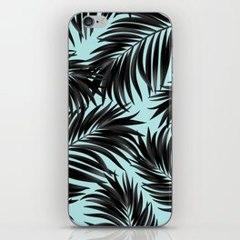 Palm Tree Fronds Black on Cyan Hawaii Tropical iPhone Skin